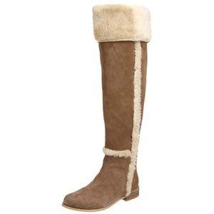 BCBGMaxAzria Knee High Suede Fur Boots 10